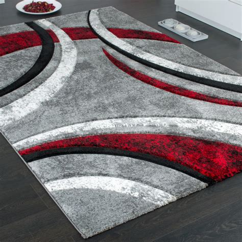 teppich grau designer carpet with contour cut striped model in grey