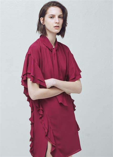 Ruffles Slit Dress Mango shoulder dress ruffle dress dresses dresses