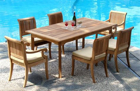 Teak Patio Furniture Set 7 Grade A Teak Dining Set 94 Quot Extension Rectangle Table 6 Giva Chairs Teak