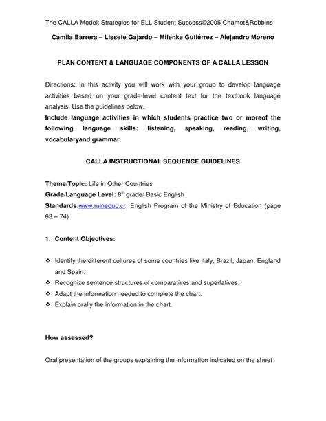 calla lesson plan template the calla model