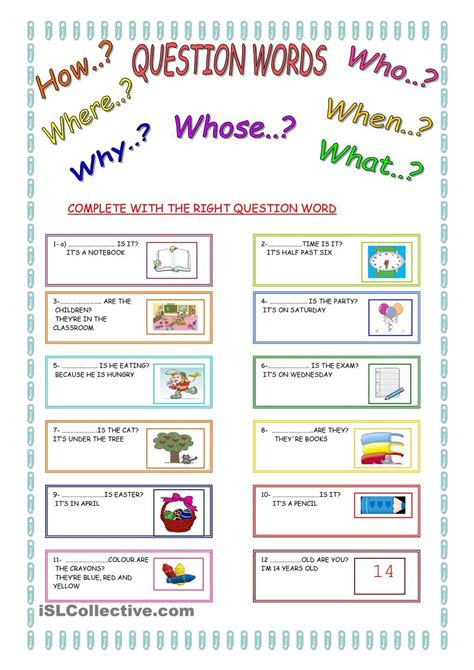 free esl question words worksheets kindergarten wh word
