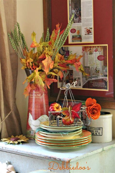 Fall Decorating Ideas For Kitchen Fall Budget Decorating In The Kitchen Debbiedoos