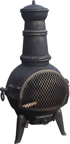 chiminea cooking grate new black 85cm cast iron steel chiminea patio heater