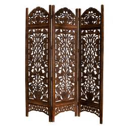 carved topiary mango wood room divider three panel screen accent