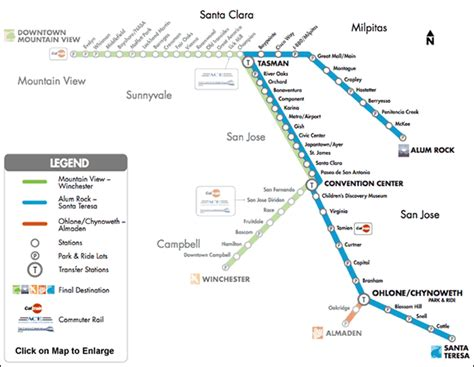 vta light rail map transportation san jose theaters