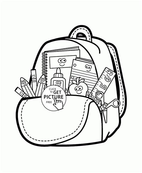 free coloring pages school supplies cartoon school supplies coloring page for kids back to