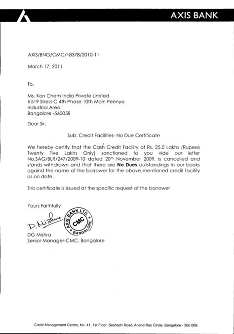 Resignation Letter Format Hcl Kon Chem India No Due Certificate