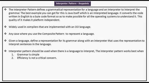 interpreter pattern java exle java ee interpreter design pattern key points