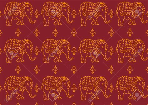 indian pattern background vector seamless red and yellow indian elephant wallpaper royalty