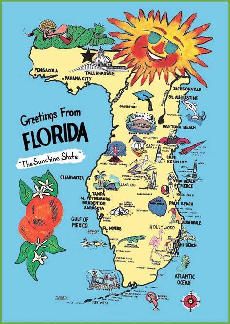 map destinations florida pictorial travel map of florida