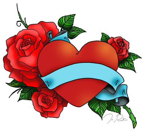 heart with roses tattoo with clipart best