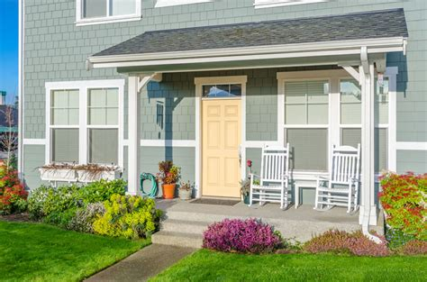 gray house yellow door front door colors paint ideas color meanings designing idea
