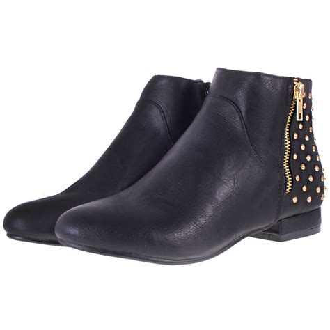 black ankle boots low heel shoes mod