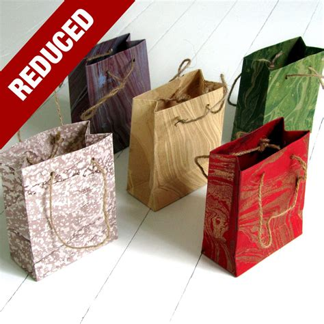 Handmade Recycled Gifts - 5 gift bags small handmade recycled marbled paper 4x4x1