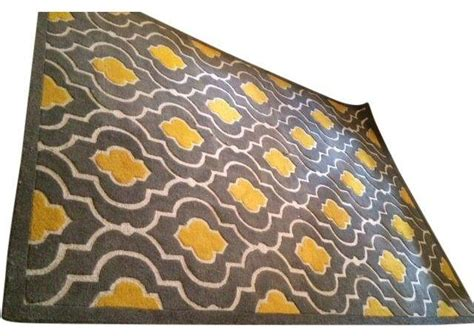 Grey And Mustard Rug by Pre Owned Modern Graphic Mustard Grey Print Rug 7 X