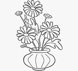 How To Draw Flowers In A Vase by Flowers Vase Coloring Drawing Free Wallpaper Anggela