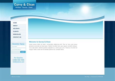 html5 blank page template curvy and clean travel template html by dtbaker