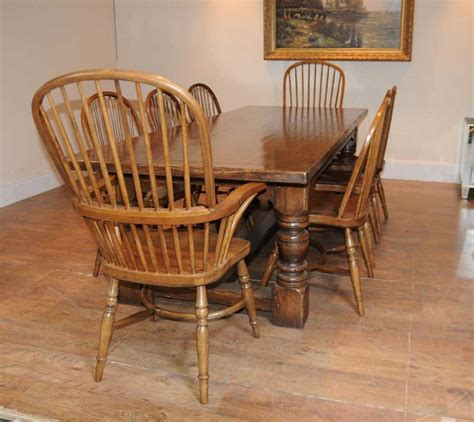 oak kitchen furniture oak refectory table windsor chair set farmhouse kitchen