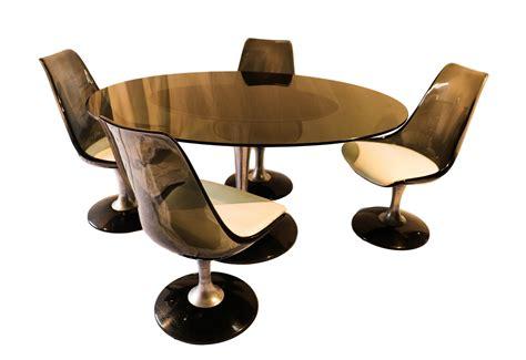 vintage acrylic glass tulip dining table  chromcraft
