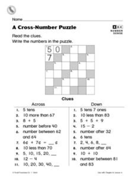 Cross Number Search A Cross Number Puzzle Worksheet For 1st 2nd Grade Lesson Planet