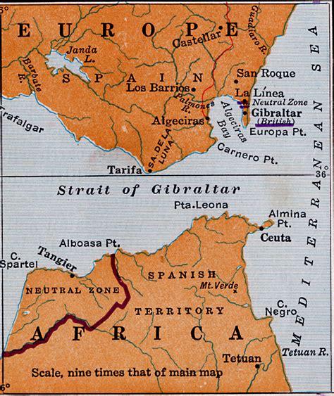 strait of gibraltar map strait of gibraltar and bordering land masses