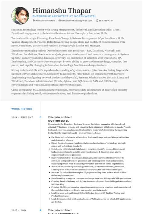 Enterprise Architect Sle Resume by Enterprise Architect Resume Sles Visualcv Resume Sles Database
