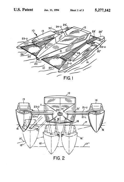 catamaran hull structure patent us5277142 variable beam catamaran google patents