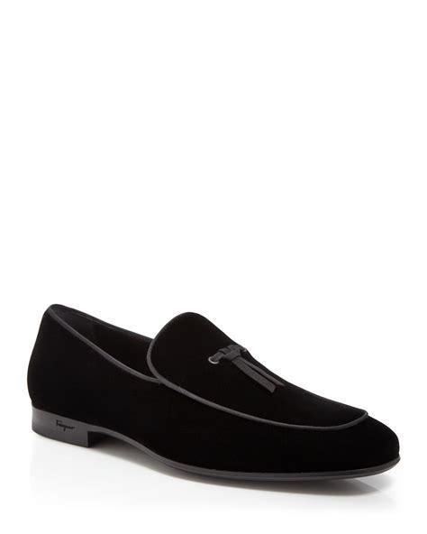 velvet loafers ferragamo nastro velvet belgian formal loafers in black
