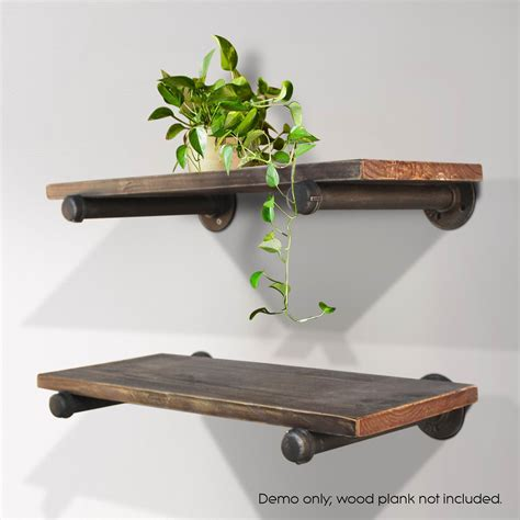 rustic vintage mount bracket set industrial diy pipe shelf