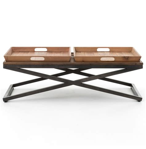Wooden Trays For Coffee Tables Jaxon Tray Top Wood Iron Industrial Rectangle Coffee Table Kathy Kuo Home
