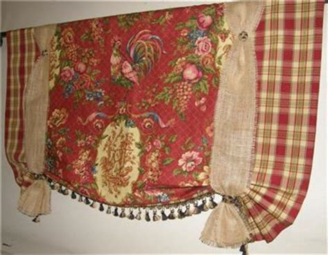 red tie up curtains french country provence tie up valance curtain rooster red