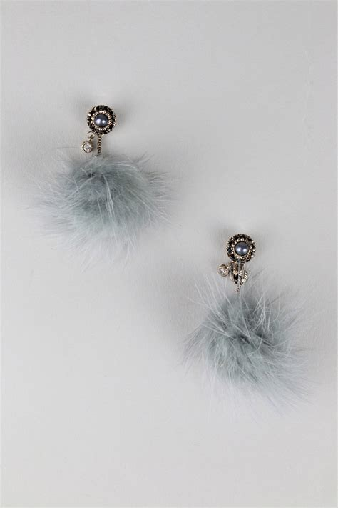lovemystyle statement pom pom drop earrings with grey pearl