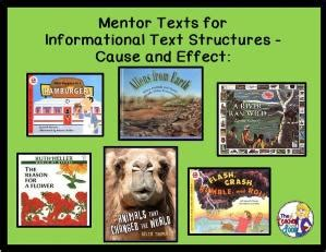 picture books for cause and effect informational text structures anchor chart