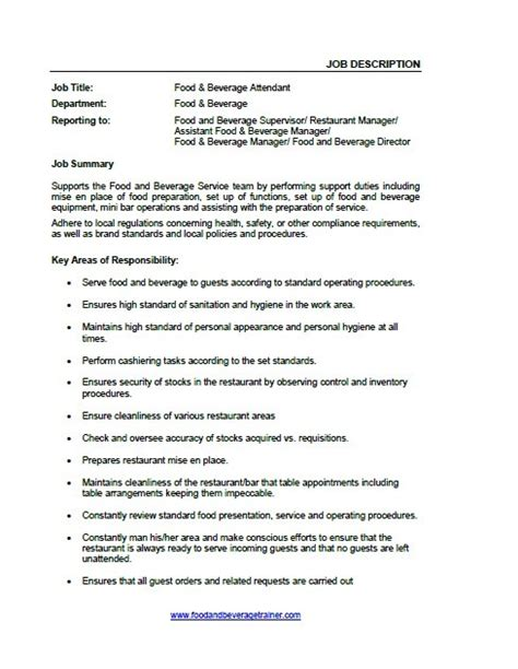 Cashier Job Description Resume by Job Descriptions Food And Beverage Trainer