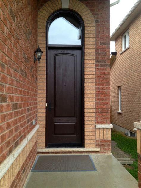 panel cambered top cherry grain fiberglass door  dark