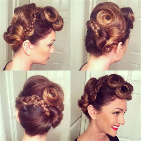 retro hairstyles braids vintage braid updo hair pinterest