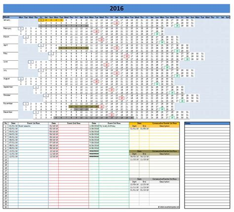 excel template for calendar 2016 calendars excel templates