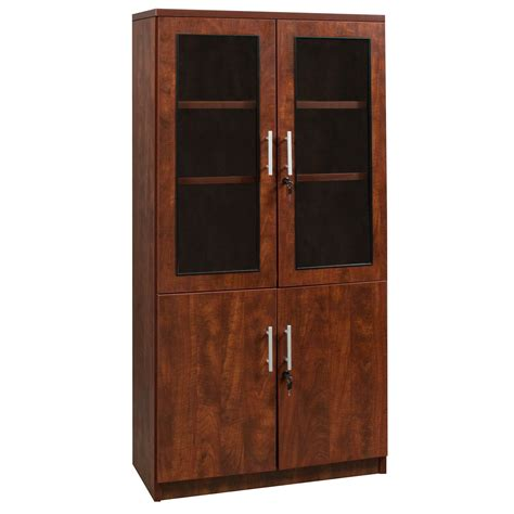 Cherry Bookcase With Glass Doors Everyday 65 In Laminate Bookcase With Glass Doors Cherry National Office Interiors And