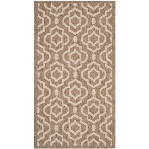 Home Depot Outdoor Rug Safavieh Courtyard Brown Bone 2 Ft 7 In X 5 Ft Indoor Outdoor Area Rug Cy6926 242 3 The