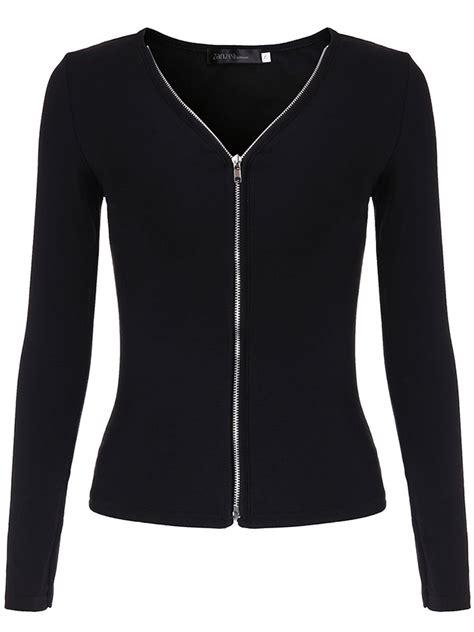 Blouse Zipper Black Hitam Casual Black Sleeve V Neck Zipper Blouse