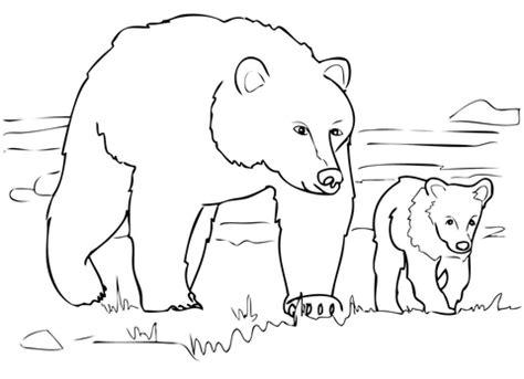 simple bear coloring pages coloriage famille grizzly coloriages 224 imprimer gratuits