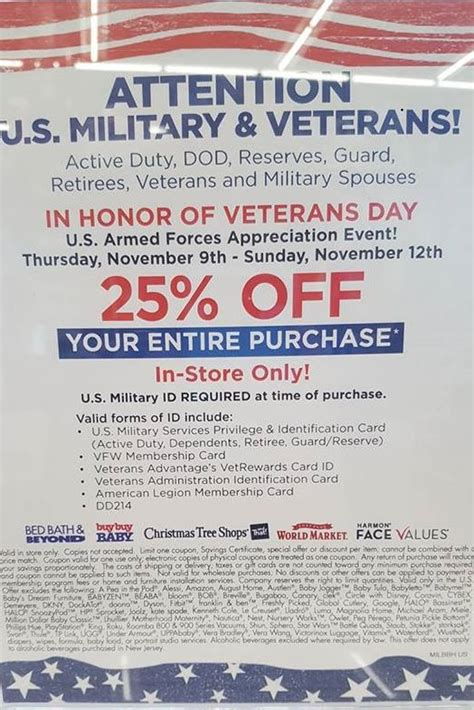 bed bath beyond 20 veterans day discount military com bed bath beyond is honoring the military community this veterans day with a