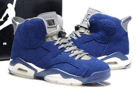 Asli Original Air 5 Retro Suede Original Original Air 6 Suede Blue White Shoes Naj050