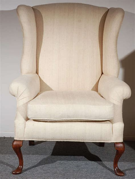 fantastic 19thc queenann style form wing chair in linen at