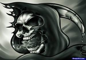 How to draw a grim reaper skull tattoo step by step skulls pop