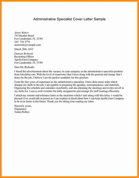 Application Letter Exle Administrative Assistant 8 Application Letter Sle Admin Staff Plan Template