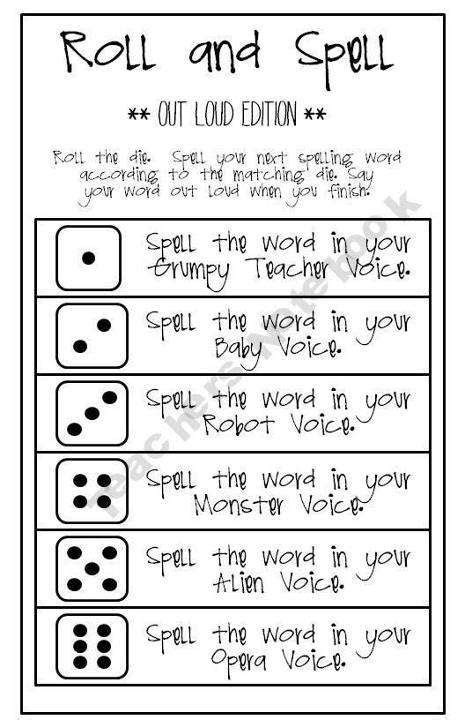 printable spelling games 4th grade spelling 1 roll and spell the students have a list of