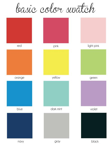 list of primary colors basic colors related keywords basic colors