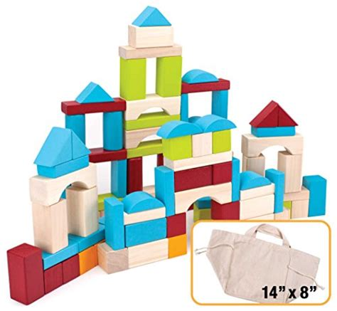 100 wooden building block set with carrying