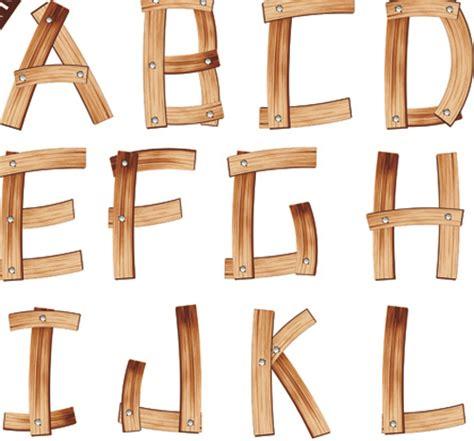 set of wooden alphabet numerals vector 02 vector font
